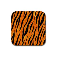 Skin3 Black Marble & Orange Marble (r) Rubber Square Coaster (4 Pack) by trendistuff