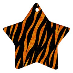 Skin3 Black Marble & Orange Marble Star Ornament (two Sides) by trendistuff