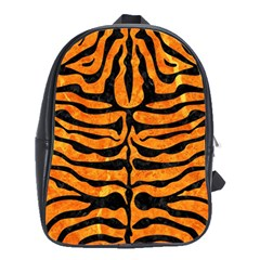 Skin2 Black Marble & Orange Marble (r) School Bag (large) by trendistuff