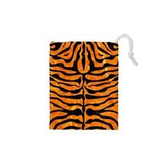 Skin2 Black Marble & Orange Marble (r) Drawstring Pouch (xs) by trendistuff
