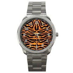 Skin2 Black Marble & Orange Marble Sport Metal Watch by trendistuff
