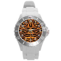 Skin2 Black Marble & Orange Marble Round Plastic Sport Watch (l) by trendistuff