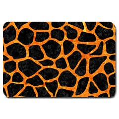 Skin1 Black Marble & Orange Marble (r) Large Doormat by trendistuff