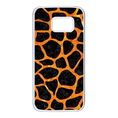 Skin1 Black Marble & Orange Marble (r) Samsung Galaxy S7 White Seamless Case
