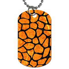 Skin1 Black Marble & Orange Marble Dog Tag (two Sides)
