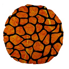 Skin1 Black Marble & Orange Marble Large 18  Premium Round Cushion  by trendistuff