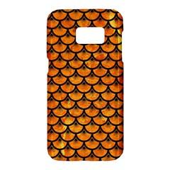 Scales3 Black Marble & Orange Marble (r) Samsung Galaxy S7 Hardshell Case