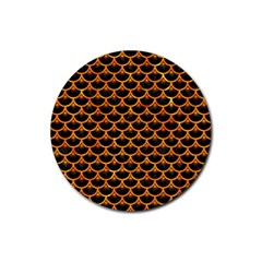 Scales3 Black Marble & Orange Marble Rubber Coaster (round) by trendistuff