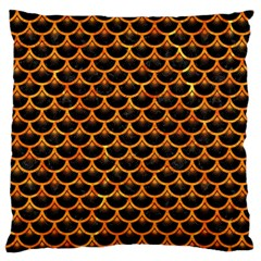Scales3 Black Marble & Orange Marble Large Flano Cushion Case (one Side) by trendistuff