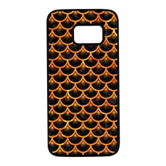 Scales3 Black Marble & Orange Marble Samsung Galaxy S7 Black Seamless Case by trendistuff