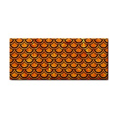 Scales2 Black Marble & Orange Marble (r) Hand Towel by trendistuff