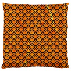 Scales2 Black Marble & Orange Marble (r) Large Cushion Case (two Sides) by trendistuff