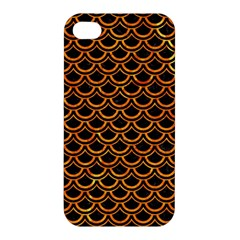 Scales2 Black Marble & Orange Marble Apple Iphone 4/4s Hardshell Case by trendistuff