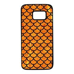 Scales1 Black Marble & Orange Marble (r) Samsung Galaxy S7 Black Seamless Case