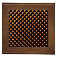 Scales1 Black Marble & Orange Marble Framed Tile by trendistuff