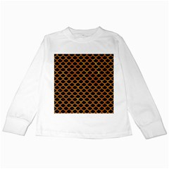 Scales1 Black Marble & Orange Marble Kids Long Sleeve T Shirt by trendistuff