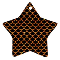 Scales1 Black Marble & Orange Marble Star Ornament (two Sides)