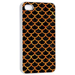 Scales1 Black Marble & Orange Marble Apple Iphone 4/4s Seamless Case (white) by trendistuff