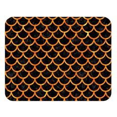 Scales1 Black Marble & Orange Marble Double Sided Flano Blanket (large) by trendistuff