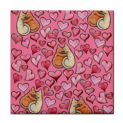 Cat Love Valentine Tile Coasters by BubbSnugg