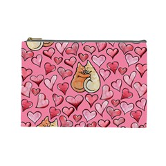 Cat Love Valentine Cosmetic Bag (large)  by BubbSnugg