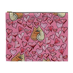Cat Love Valentine Cosmetic Bag (xl) by BubbSnugg