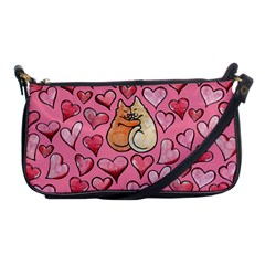 Cat Love Valentine Shoulder Clutch Bags by BubbSnugg
