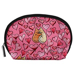 Cat Love Valentine Accessory Pouches (large)  by BubbSnugg