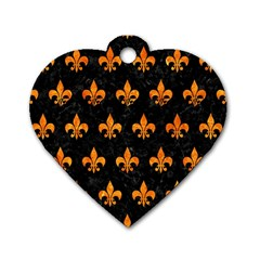 Royal1 Black Marble & Orange Marble (r) Dog Tag Heart (two Sides) by trendistuff