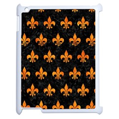 Royal1 Black Marble & Orange Marble (r) Apple Ipad 2 Case (white) by trendistuff
