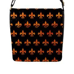 Royal1 Black Marble & Orange Marble (r) Flap Closure Messenger Bag (l)