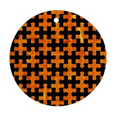 Puzzle1 Black Marble & Orange Marble Ornament (round) by trendistuff