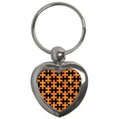 Puzzle1 Black Marble & Orange Marble Key Chain (heart) by trendistuff