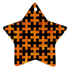 Puzzle1 Black Marble & Orange Marble Star Ornament (two Sides) by trendistuff