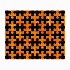 Puzzle1 Black Marble & Orange Marble Small Glasses Cloth (2 Sides) by trendistuff