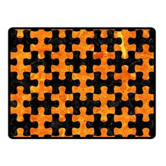 Puzzle1 Black Marble & Orange Marble Fleece Blanket (small) by trendistuff