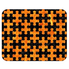 Puzzle1 Black Marble & Orange Marble Double Sided Flano Blanket (medium) by trendistuff