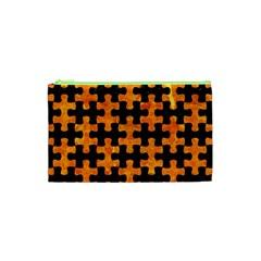 Puzzle1 Black Marble & Orange Marble Cosmetic Bag (xs) by trendistuff