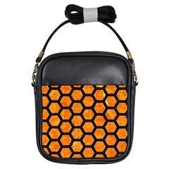 Hexagon2 Black Marble & Orange Marble (r) Girls Sling Bag by trendistuff