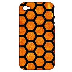 Hexagon2 Black Marble & Orange Marble (r) Apple Iphone 4/4s Hardshell Case (pc+silicone) by trendistuff
