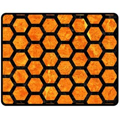 Hexagon2 Black Marble & Orange Marble (r) Double Sided Fleece Blanket (medium) by trendistuff