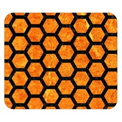 Hexagon2 Black Marble & Orange Marble (r) Double Sided Flano Blanket (small)