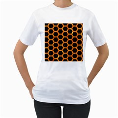 Hexagon2 Black Marble & Orange Marble Women s T Shirt (white) (two Sided) by trendistuff