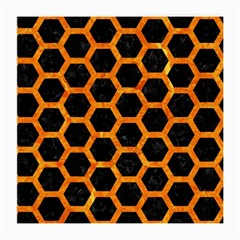 Hexagon2 Black Marble & Orange Marble Medium Glasses Cloth by trendistuff