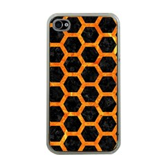 Hexagon2 Black Marble & Orange Marble Apple Iphone 4 Case (clear) by trendistuff