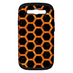 Hexagon2 Black Marble & Orange Marble Samsung Galaxy S Iii Hardshell Case (pc+silicone) by trendistuff