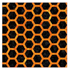Hexagon2 Black Marble & Orange Marble Large Satin Scarf (square) by trendistuff