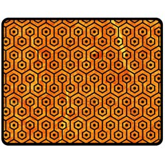 Hexagon1 Black Marble & Orange Marble (r) Fleece Blanket (medium) by trendistuff