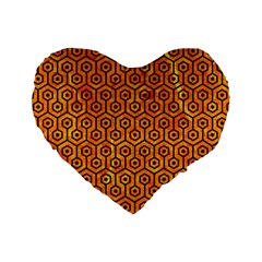 Hexagon1 Black Marble & Orange Marble (r) Standard 16  Premium Flano Heart Shape Cushion  by trendistuff
