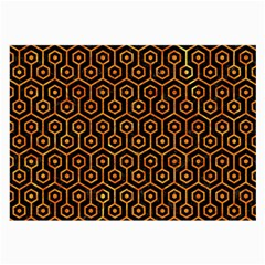 Hexagon1 Black Marble & Orange Marble Large Glasses Cloth (2 Sides) by trendistuff